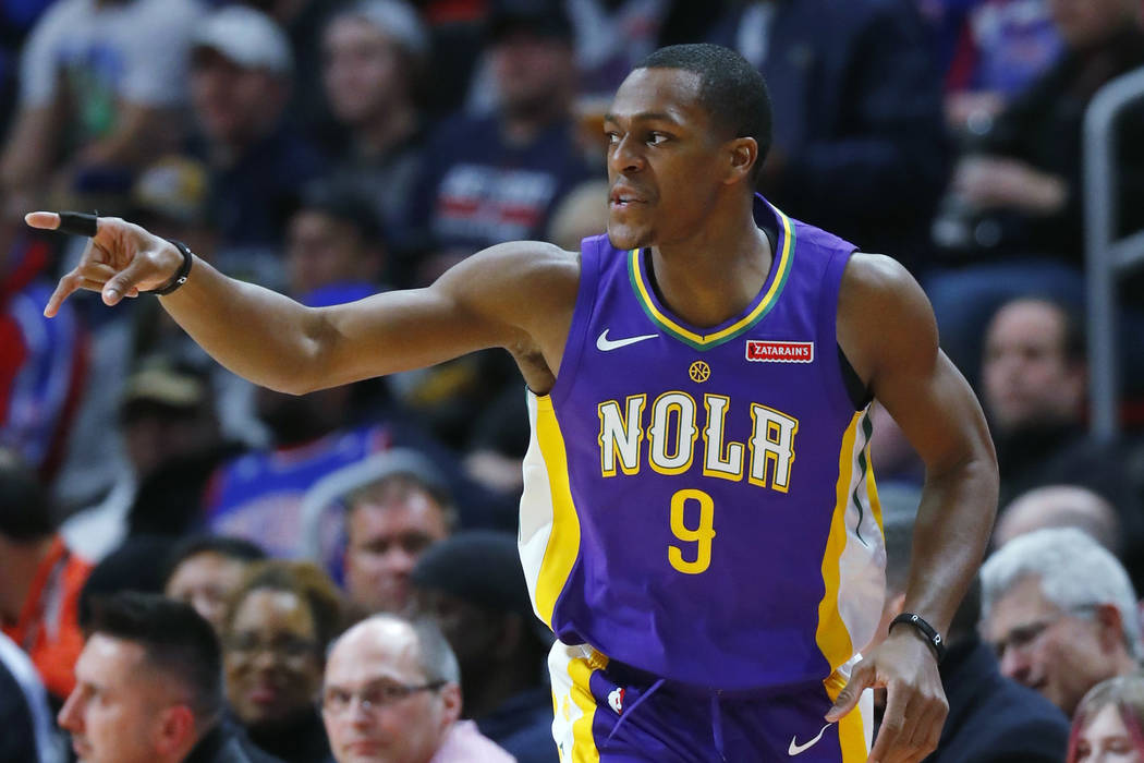 In this Feb. 12, 2018 file photo, New Orleans Pelicans guard Rajon Rondo (9) plays against the Detroit Pistons in the first half of an NBA basketball game in Detroit. (AP Photo/Paul Sancya, file)
