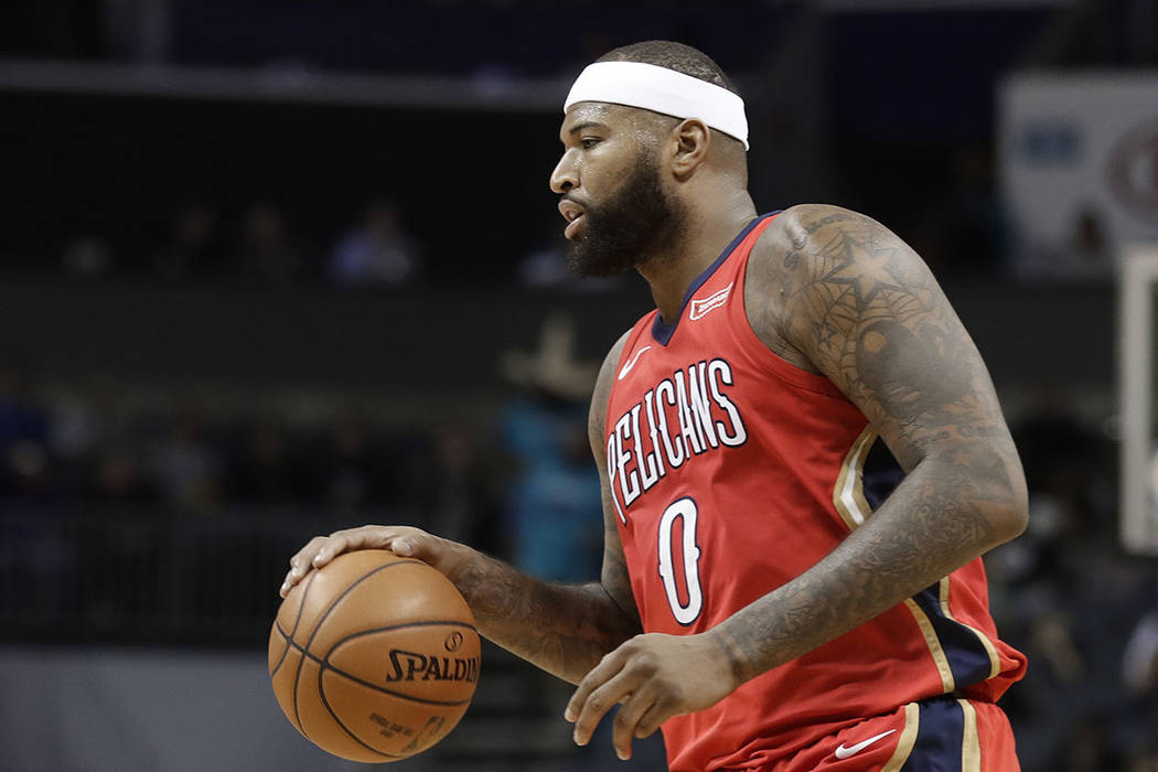 New Orleans Pelicans' DeMarcus Cousins (0) drives against the Charlotte Hornets during the second half of an NBA basketball game in Charlotte, N.C., Wednesday, Jan. 24, 2018. (AP Photo/Chuck Burton)