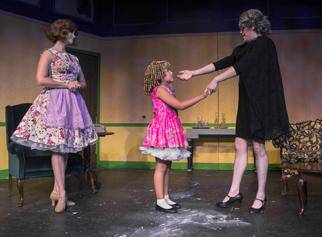 "Cory Benway, right, Teah DeStefano and Evelyn Connors work through a scene during rehearsal for ""Ruthless!"" at Las Vegas Little Theater on Thursday, July 5, 2018, in Las Vegas. Benjamin ..."