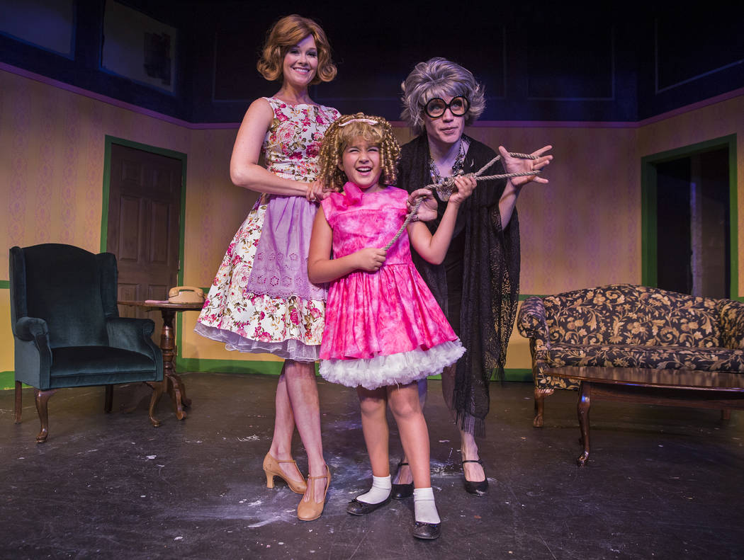 "Evelyn Connors, left, Teah DeStefano and Cory Benway work through a scene during rehearsal for ""Ruthless!"" at Las Vegas Little Theater on Thursday, July 5, 2018, in Las Vegas. Benjamin H ..."