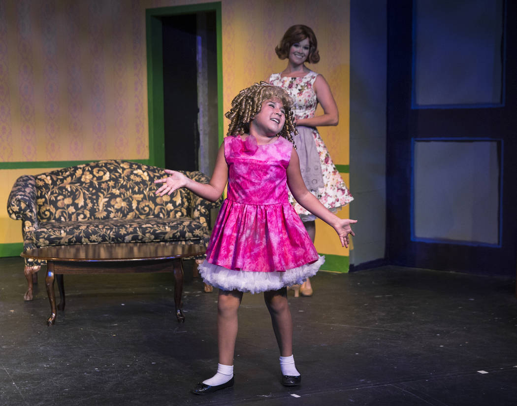 "Teah DeStefano, left, and Evelyn Connors work through a scene during rehearsal for ""Ruthless!"" at Las Vegas Little Theater on Thursday, July 5, 2018, in Las Vegas. Benjamin Hager Las Veg ..."
