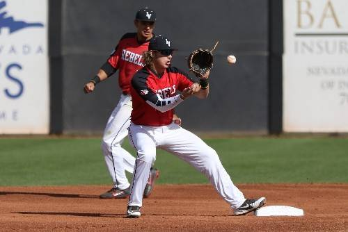 UNLV shortstop Bryson Stott covers second base against Fresno State on March 3 at Wilson Stadium. Photo of courtesy of UNLV Athletics.