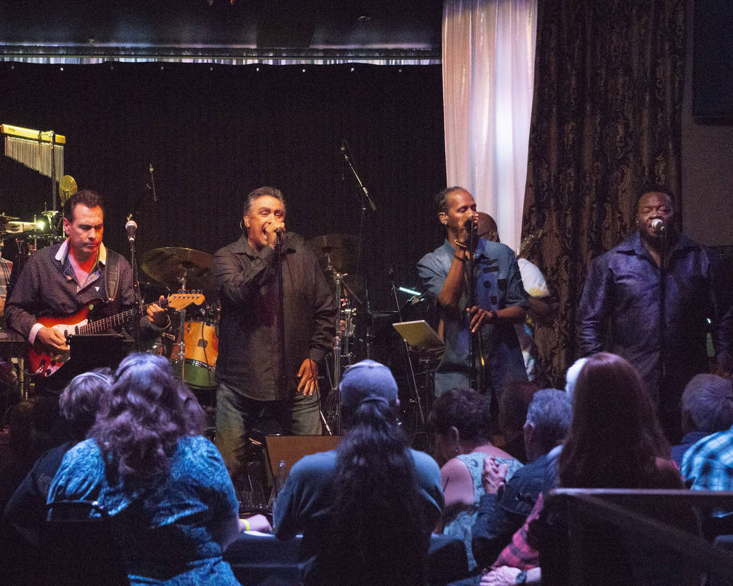 Jerry Lopez, Lenny Lopez, Tyriq Johnson and Lannie Counts Santa Fe & The Fat City Horns perform at the Copa Room at Bootlegger Bistro on Monday, July 2, 2018. (Ed Foster)