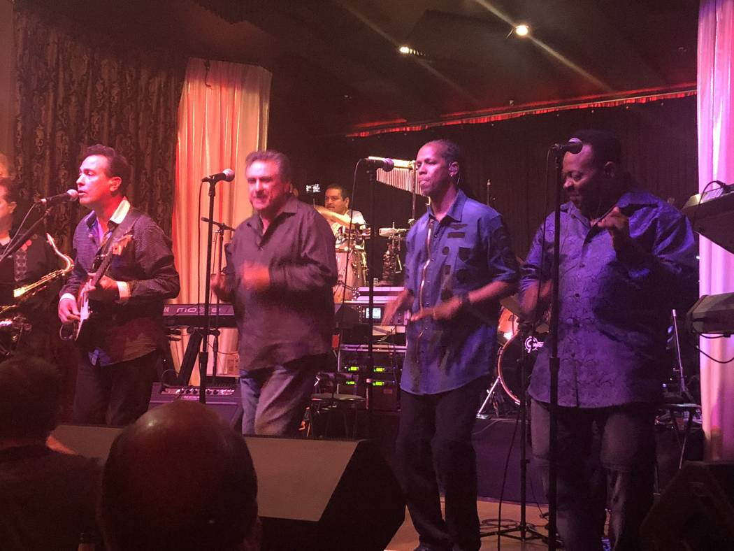 Members of Santa Fe & The Fat City Horns (from left) Jerry Lopez, Lenny Lopez, Tyriq Johnson and Lannie Counts perform at the Copa Room at Bootlegger Bistro on Monday, July 2, 2018. (John Katsilom ...