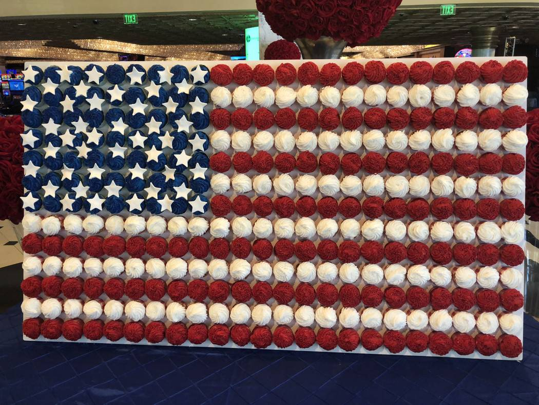 A display of 312 cupcakes in the shape of an American flag is shown at the entrance of Westgate Las Vegas on July 2, 2018. The display was created for the July 4 holiday by Westgate Executive Exec ...