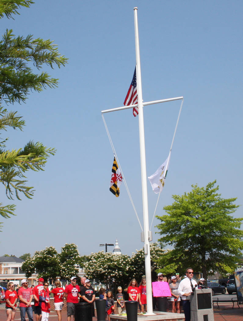 Annapolis Mayor Gavin Buckley speaks at a news conference in Annapolis, Maryland, on Tuesday, July 3, 2018, to discuss the lowering of the U.S. flag to half-staff to honor the employees killed in ...