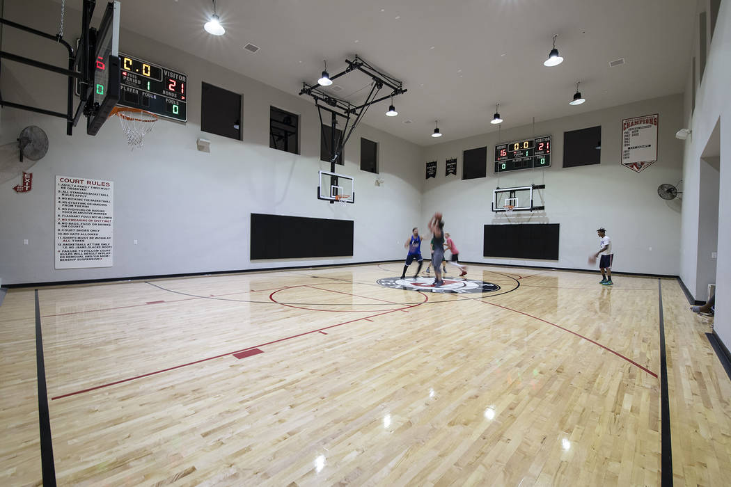 The full-court basketball court is popular with the kids and adults.