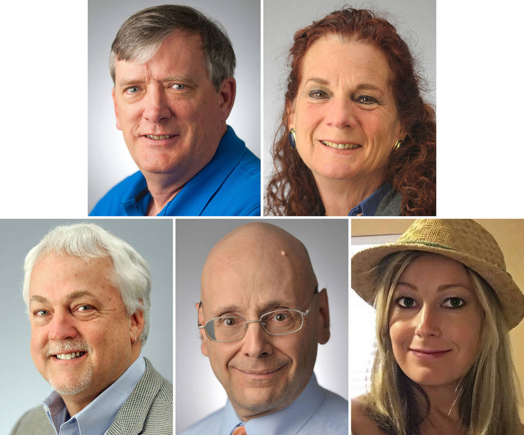 This photo combination shows the victims of the shooting in the newsroom of the Capital Gazette in Annapolis, Md., on Thursday, June 28, 2018. Top, from left, John McNamara and Wendi Winters; bott ...