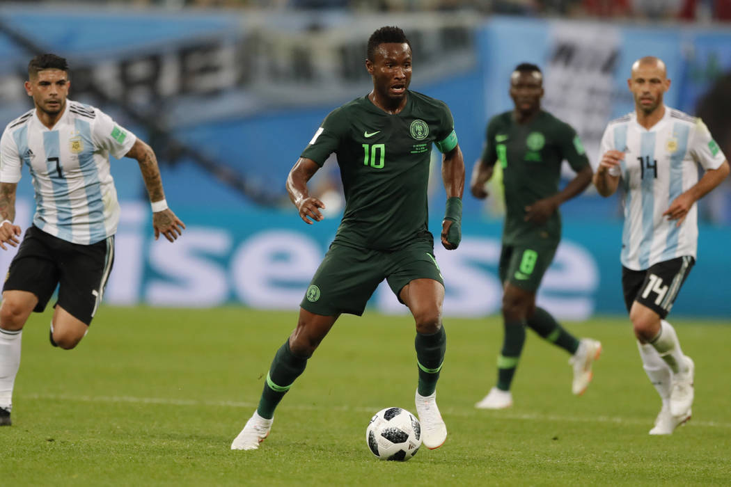 In this file photo from June 26, 2018, Nigeria captain John Obi Mikel controls the ball during the Group D match between Argentina and Nigeria, at the World Cup in St. Petersburg, Russia, Tuesday, ...