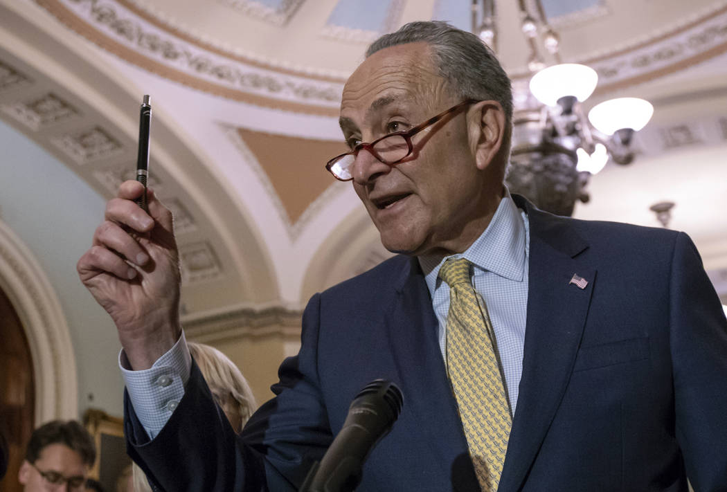 Senate Minority Leader Chuck Schumer, D-N.Y., talks during a news conference on Capitol Hill in Washington, June 19, 2018. (J. Scott Applewhite/AP)