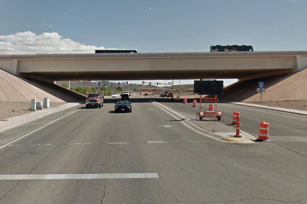A section of northbound U.S. Highway 95 in Henderson will be restricted for several hours Friday as crews repair peeling or damaged areas of a freeway bridge. Google Street View.