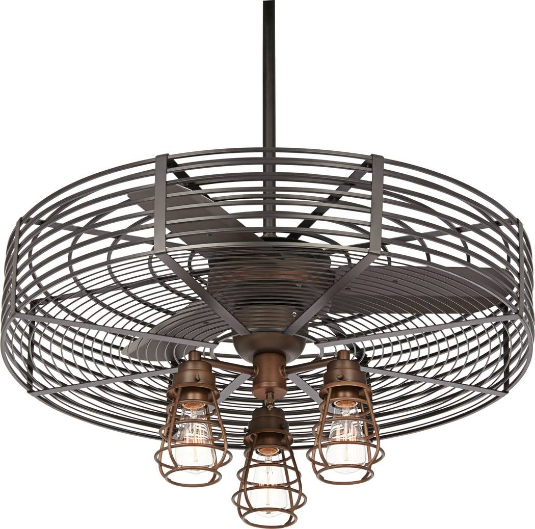 From Casa Vieja comes the Vintage Breeze™ ceiling fan with an industrial cage design. This smart fan design comes in an oil rubbed bronze finish with a black finish cage surround. It's complem ...
