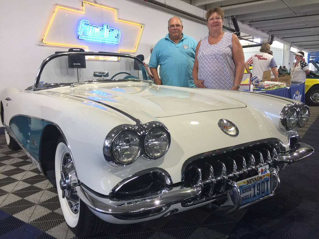Findlay Las Vegans Steve and Linda Ciaccio show off their 1960 Chevrolet Corvette that was among the vehicles displayed June 30 at the celebration of the Chevrolet Corvette birthday at Findlay Che ...