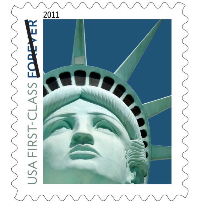 The United States Postal Services issued the Statue of Liberty Forever stamp in December 2010. The image displayed on the stamp is of the replica statue outside New York-New York in Las Vegas inst ...