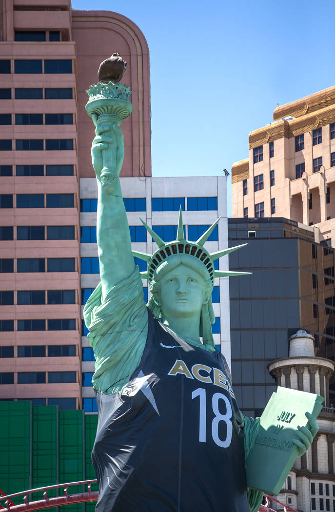 The replica of the Statue of Liberty outside New York-New York hotel-casino on Tuesday, July 3, 2018, in Las Vegas. Benjamin Hager Las Vegas Review-Journal @benjaminhphoto