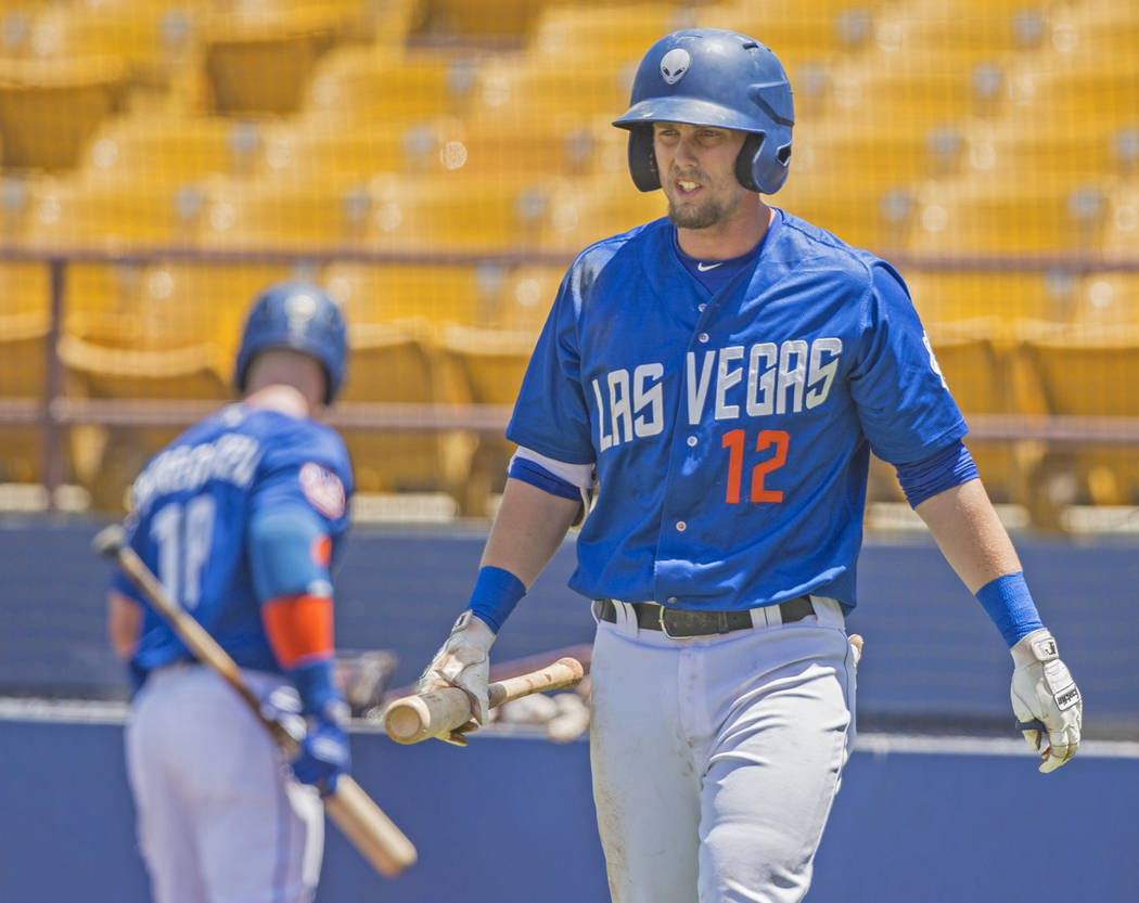 51s second baseman Jeff McNeil (12) walks to the plate during Las Vegas' home matchup with the Reno Aces on Sunday, June 24, 2018, at Cashman Field, in Las Vegas. Benjamin Hager Las Vegas Review-J ...