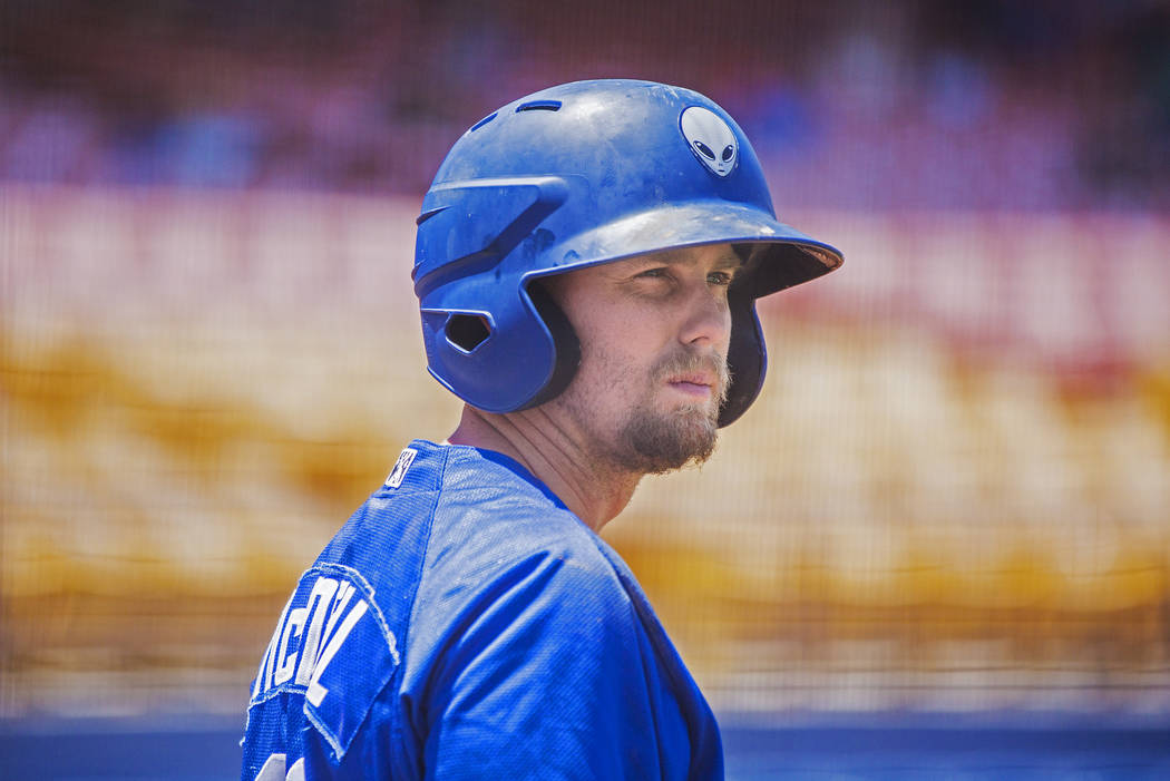 51s second baseman Jeff McNeil (12) warms up in the on-deck circle during Las Vegas' home matchup with the Reno Aces on Sunday, June 24, 2018, at Cashman Field, in Las Vegas. Benjamin Hager Las Ve ...