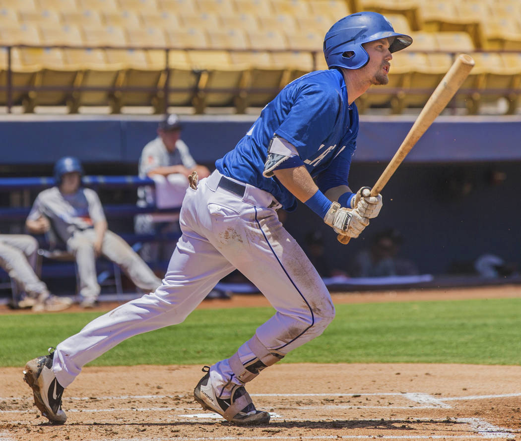51s second baseman Jeff McNeil (12) sprints out of the batters box during Las Vegas' home matchup with the Reno Aces on Sunday, June 24, 2018, at Cashman Field, in Las Vegas. Benjamin Hager Las Ve ...