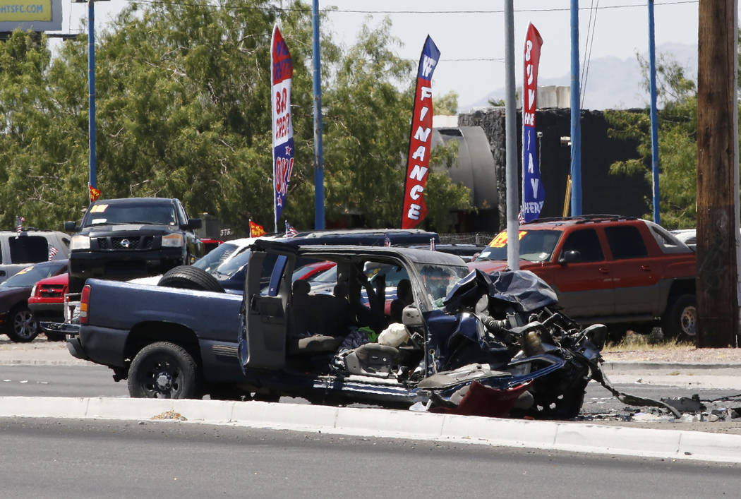 A pickup truck involved in a multivehicle crash is seen on Boulder Highway at U.S. Highway 95 on Tuesday, in Las Vegas. Bizuayehu Tesfaye/Las Vegas Review-Journal @bizutesfaye