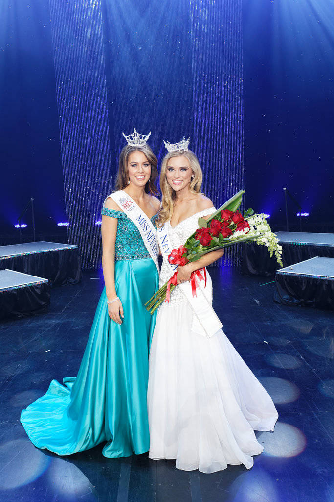 Newly crowned Miss Nevada, Alexis Hilts, with Miss Outstanding Teen Tia Henderson. Chezaray Photography