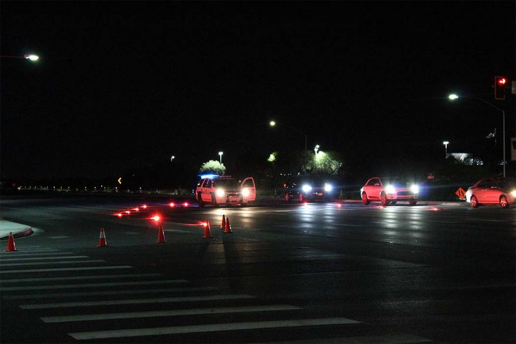A pedestrian was hit Tuesday night and killed by a vehicle on St. Rose Parkway. Henderson police are investigating. (Max Michor/Las Vegas Review-Journal)