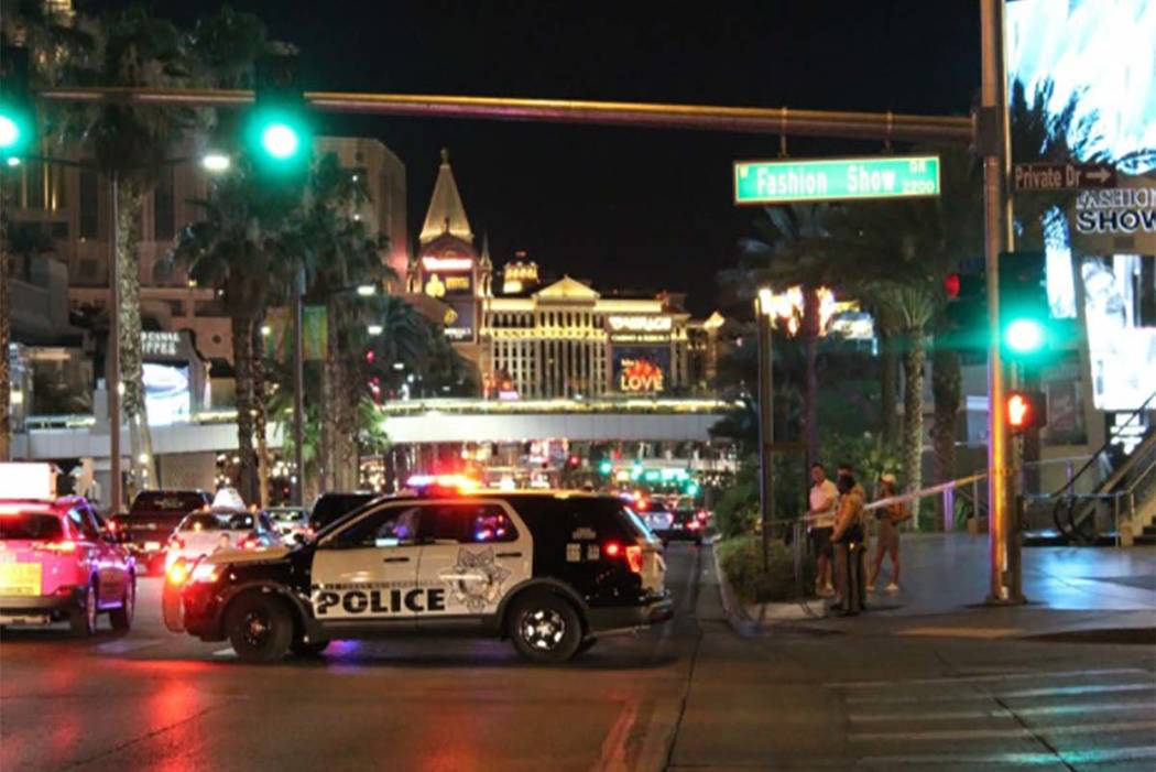 A pedestrian was seriously injured late Tuesday (July 3, 1996) after being struck by a car on the Strip in Las Vegas.