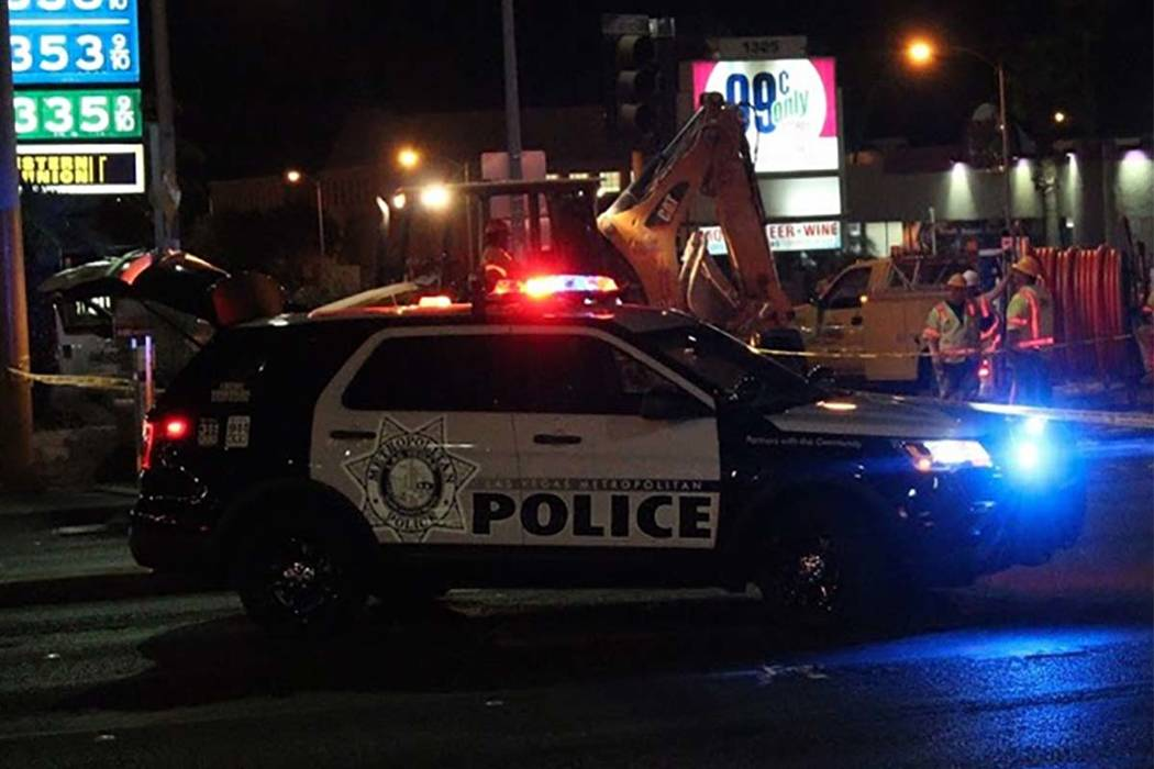 A pedestrian was struck by a vehicle and killed Wednesday, July 4, 2018, while crossing Flamingo Road at Maryland Parkway. (Max Michor/Las Vegas Review-Journal)