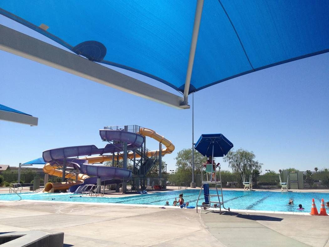 Cooling off at one of the many local swimming pools might not be such a bad idea as the temperature on Wednesday, July 4, 2018, is expected to reach 103. (Review-Journal file photo)