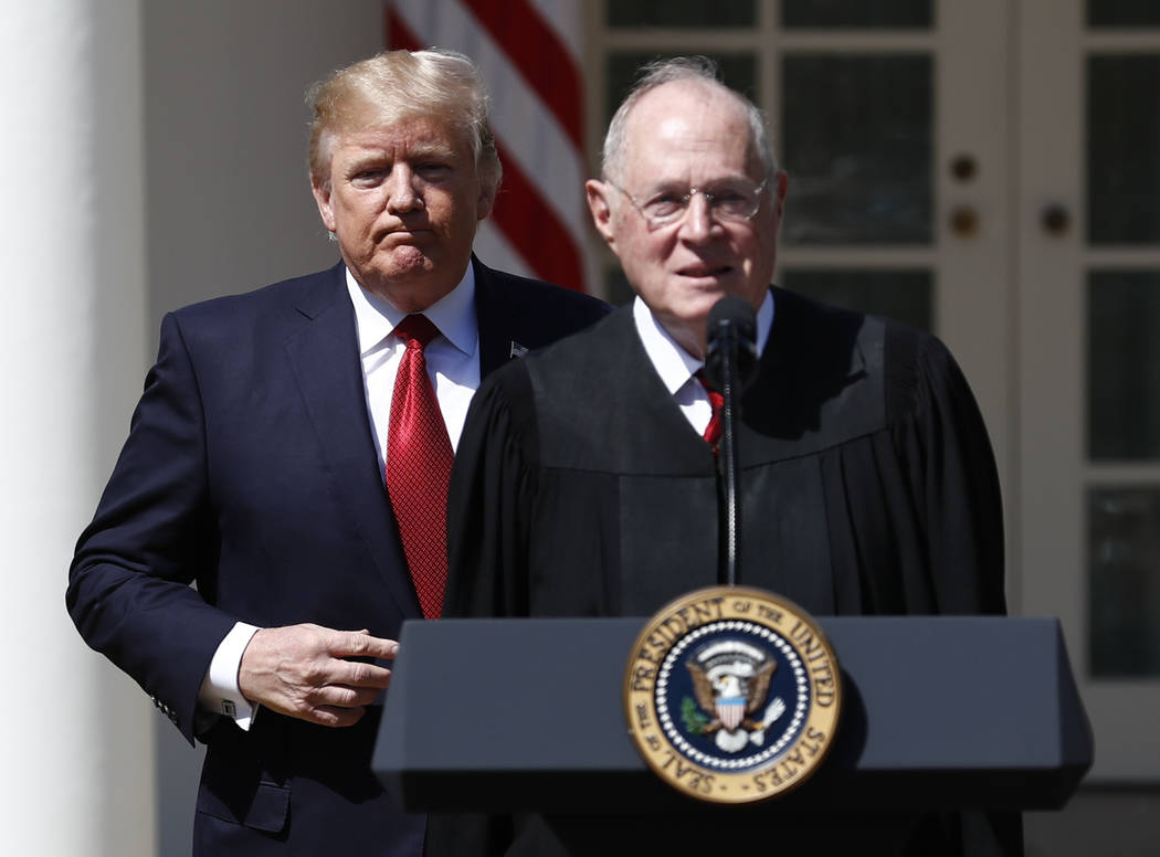 President Donald Trump, left, and Supreme Court Justice Anthony Kennedy in Washington, Monday, April 10, 2017. (Carolyn Kaster/AP)