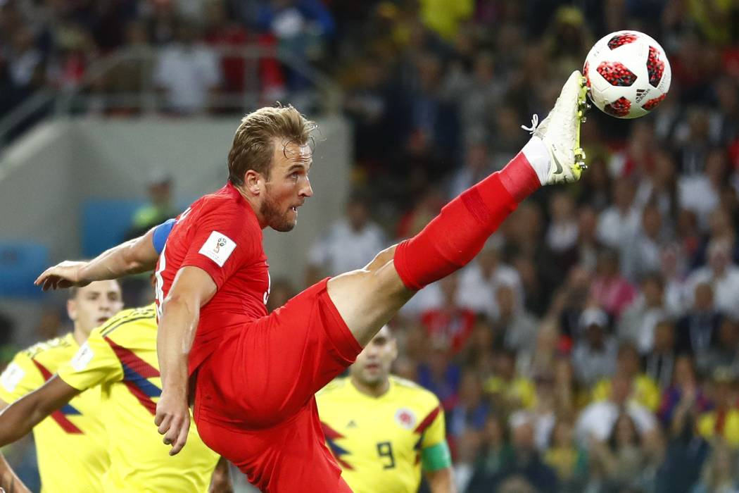England's Harry Kane tries to control the ball during the round of 16 match between Colombia and England at the 2018 soccer World Cup in the Spartak Stadium, in Moscow, Russia, Tuesday, July 3, 20 ...
