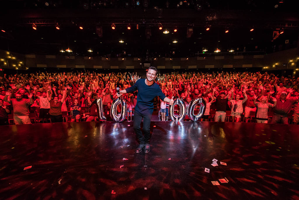 Linq Hotel headliner Mat Franco celebrates his 1,000th show at the theater named for him on Tuesday, July 3, 2018. (Stacey Torma)