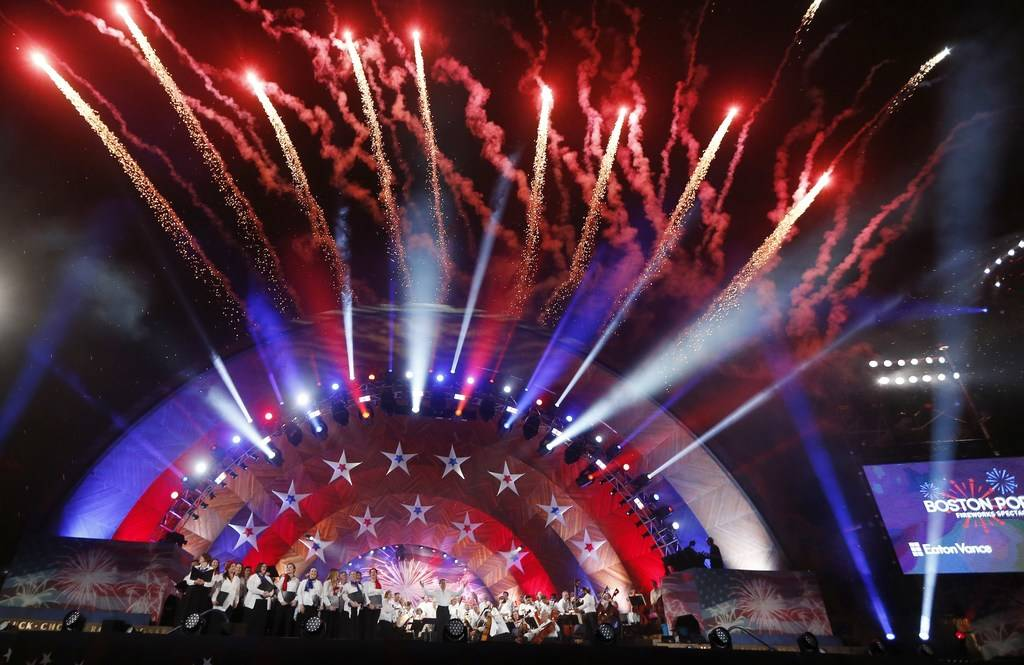 Fireworks explode over the Hatch Shell during rehearsal for the Boston Pops Fireworks Spectacular in Boston, Tuesday, July 3, 2018. (AP Photo/Michael Dwyer)