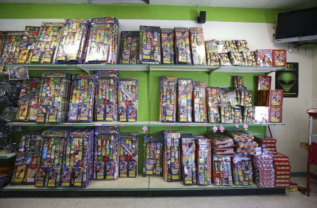 Shelves are restocked at Area 51 Fireworks following the 4th of July in Pahrump on Thursday, July 5, 2018. Chase Stevens Las Vegas Review-Journal @csstevensphoto