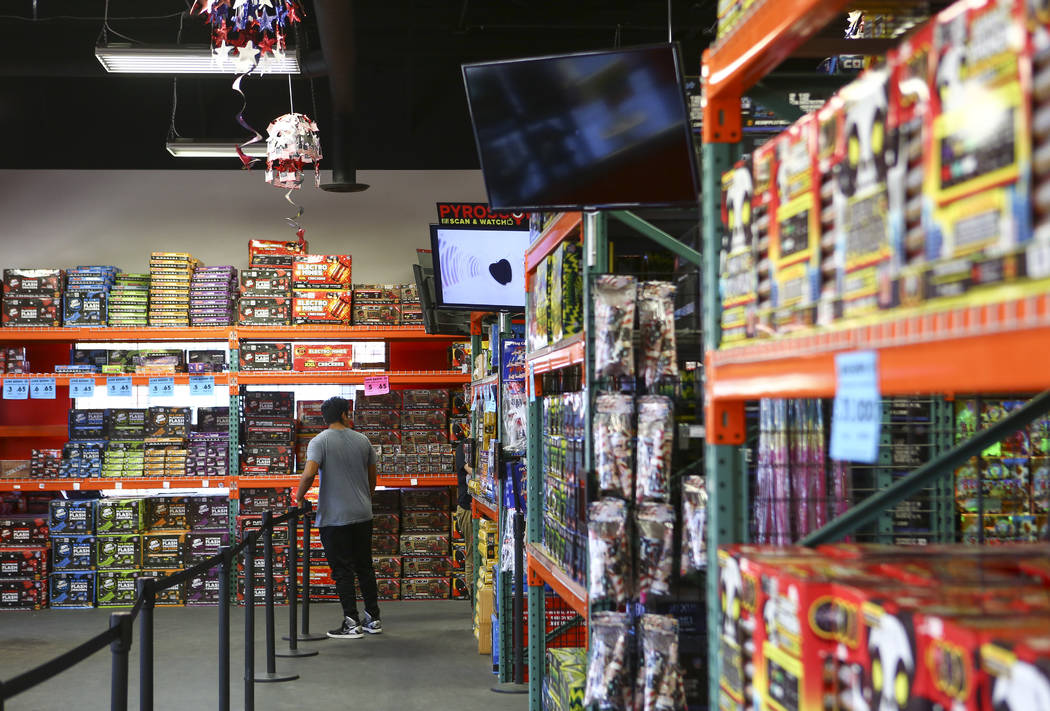 Customers browse through items at Red Apple Fireworks in Pahrump on Thursday, July 5, 2018. Chase Stevens Las Vegas Review-Journal @csstevensphoto