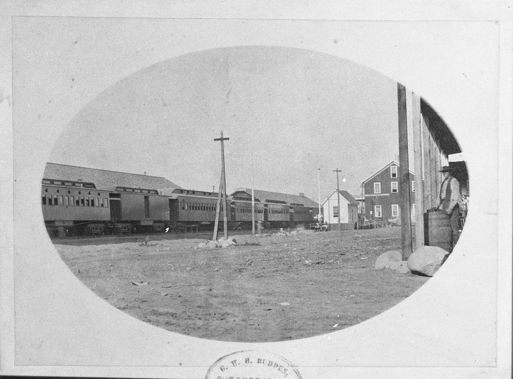 The Central Pacific's directors car, far left, is seen in Reno on June 9, 1870. The car, now known as V&T Coach No. 17, will be on display at the Nevada State Railroad Museum in early 2019. (Phot ...