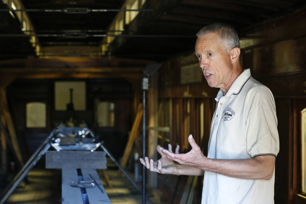 Wendell Huffman, curator of history at the Nevada Railroad Museum, in Carson City, talks about the historic V&T Coach No. 17 on Friday, June 29, 2018. The car, built in 1868, carried dignitaries ...