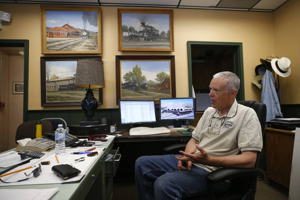 Wendell Huffman, curator of history at the Nevada Railroad Museum, in Carson City, talks about the historic V&T Coach No. 17 from his office on Friday, June 29, 2018. (Cathleen Allison/Las Vegas ...