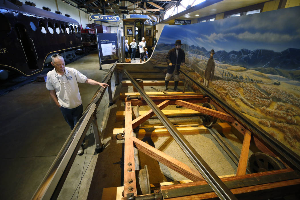 Wendell Huffman, curator of history at the Nevada Railroad Museum, in Carson City, talks about the history of rail construction on Friday, June 29, 2018. (Cathleen Allison/Las Vegas Review-Journal)