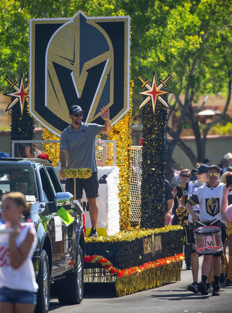 """Vegas Golden Knights: Vegas Born, Vegas Strong,"" float featured Vegas Golden Knights defenseman and alternate captain, Deryk Engelland, his wife, Melissa, and their sons, Cash and Talon. (Sum ..."