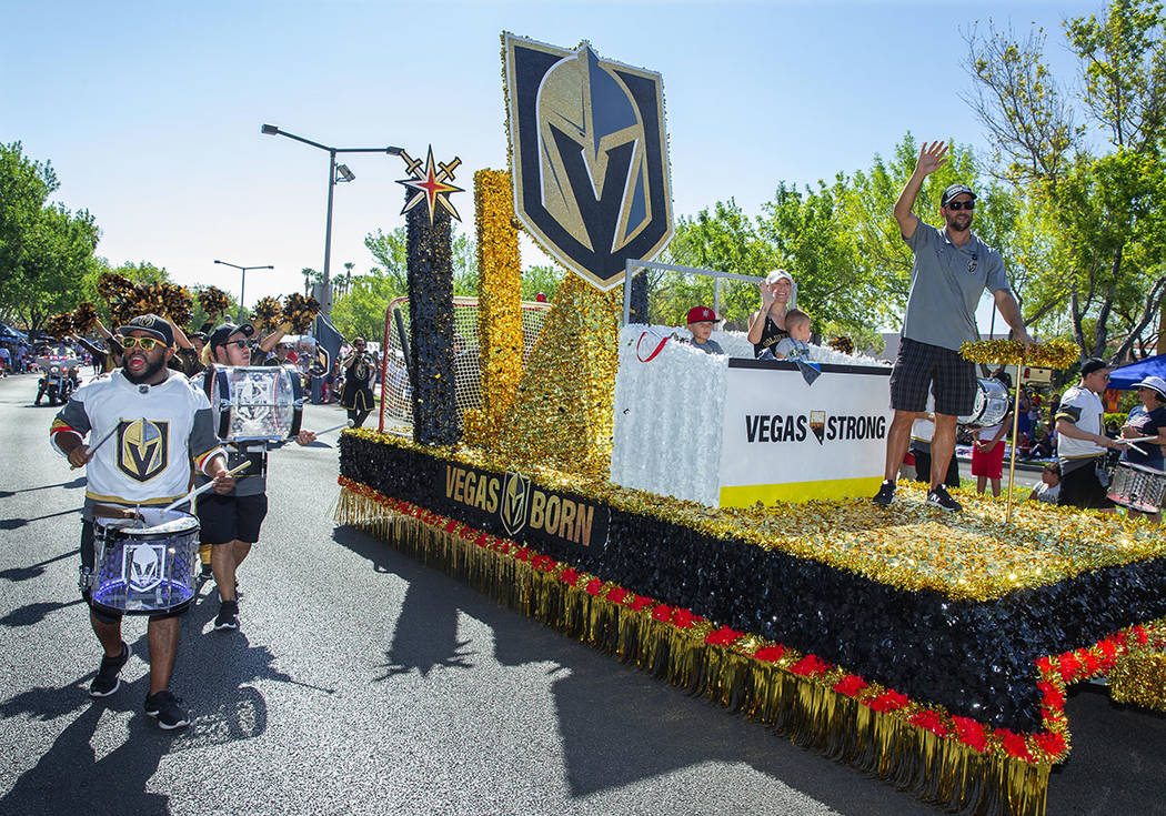 """Vegas Golden Knights: Vegas Born, Vegas Strong,"" Summerlin Council Patriotic Parade float featured Vegas Golden Knights defenseman and alternate captain, Deryk Engelland, his wife, Melissa, a ..."