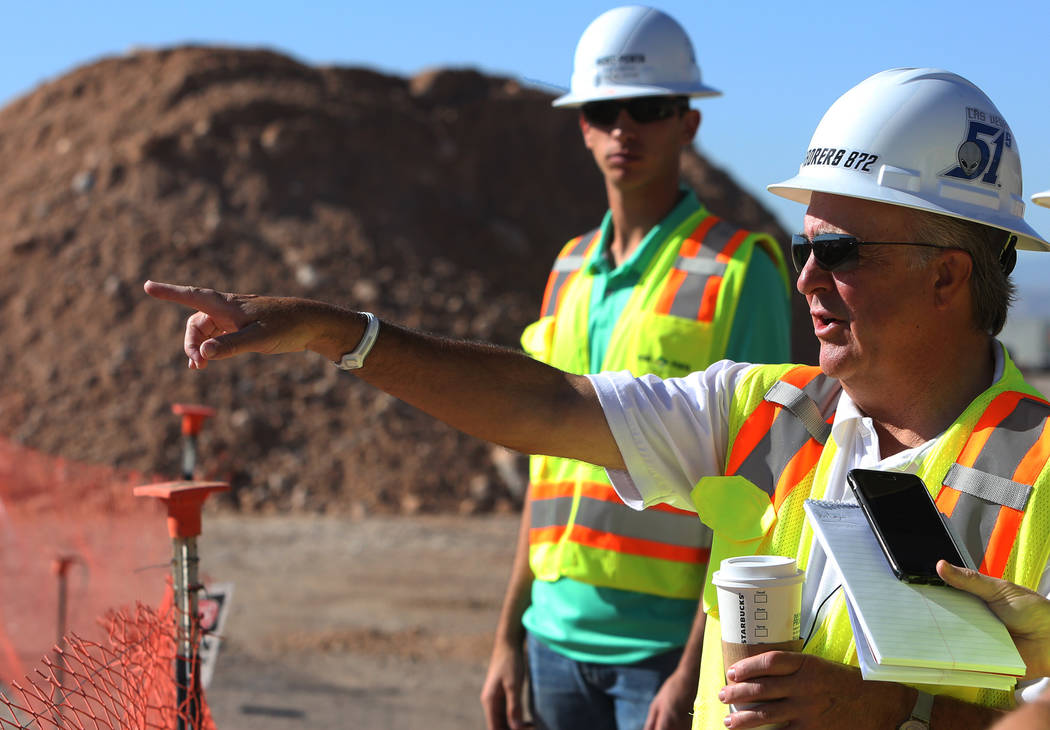 Las Vegas 51s President Don Logan points toward the site of the new 51s ballpark while speaking during an interview with the Las Vegas Review-Journal at on Tuesday, June 19, 2018, in Las Vegas. B ...