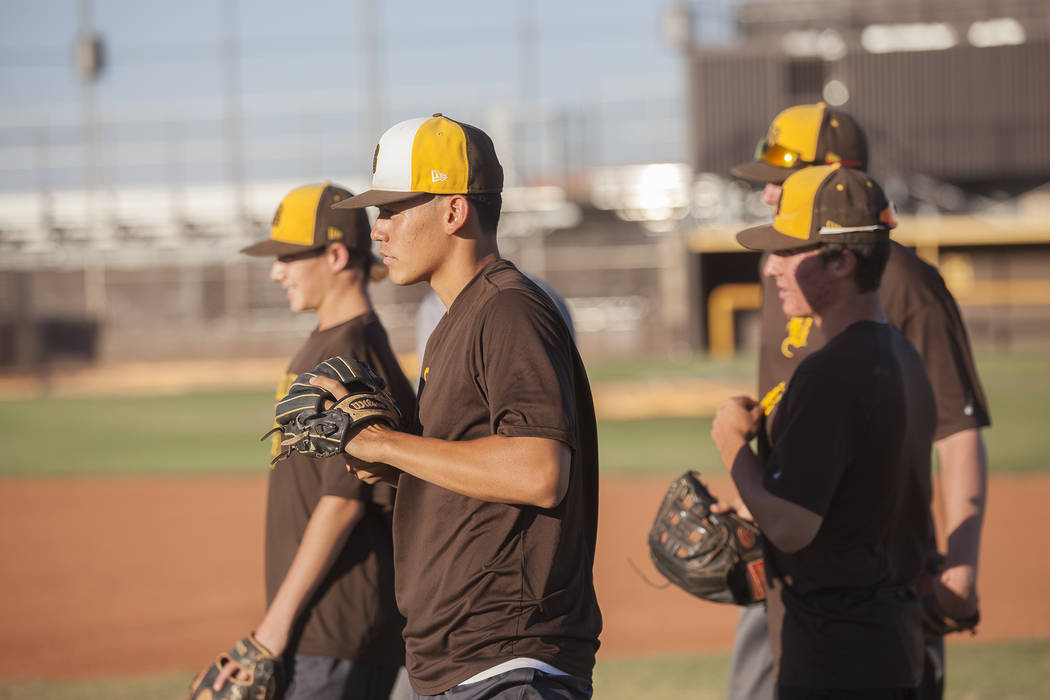 Players of Bonanza High School's baseball team during practice at Bonanza High School in Las Vegas, Tuesday, July 3, 2018. Rachel Aston Las Vegas Review-Journal @rookie__rae