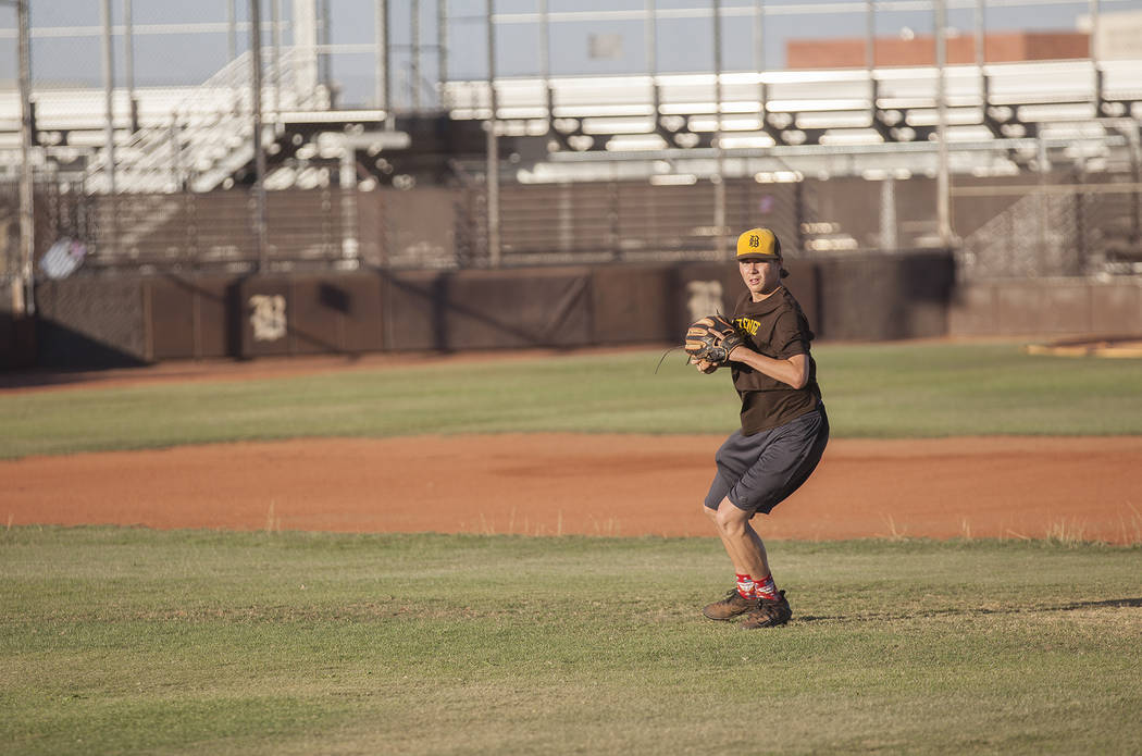 Bonanza High School's Robert Shook gets ready to throw the baseball to a teammate during practice at Bonanza High School in Las Vegas, Tuesday, July 3, 2018. Rachel Aston Las Vegas Review-Journal ...