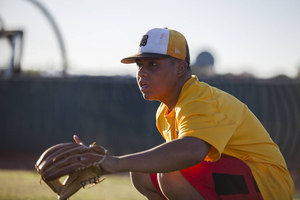Bonanza High School's Makai DeSoto prepares to catch the ball during drills at baseball practice at Bonanza High School in Las Vegas, Tuesday, July 3, 2018. Rachel Aston Las Vegas Review-Journal @ ...