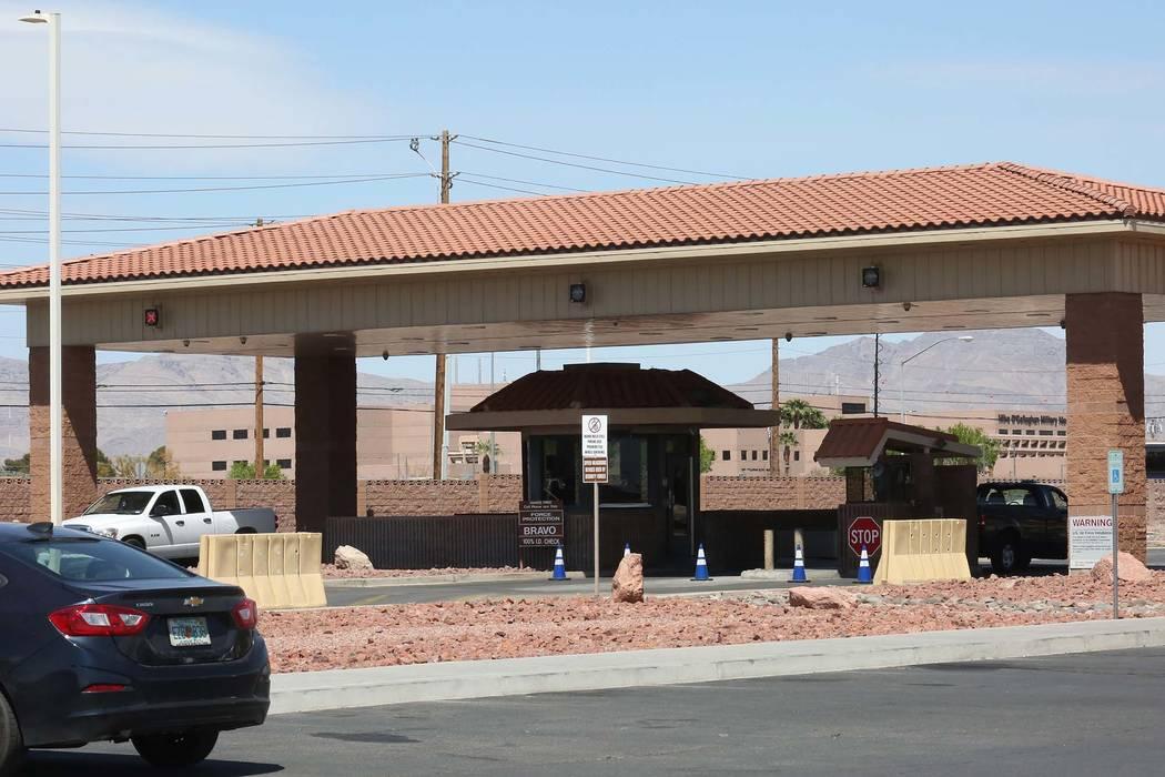 The main entrance at Nellis Air Force Base in Las Vegas. (Bizuayehu Tesfaye/Las Vegas Review-Journal) @bizutesfaye