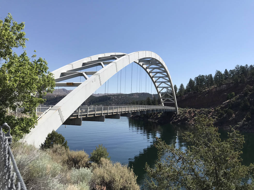 The Cart Creek Bridge is used by vehicles to cross a scenic side canyon on the Flaming Gorge Reservoir, found along the main road to Dutch John, Utah. (Deborah Wall)