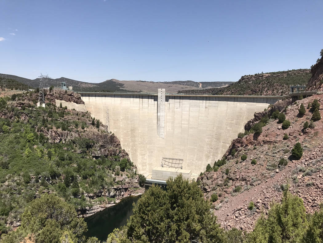 The Flaming Gorge Dam is a thin-arch concrete dam which is 502 feet high from the streambed below. It was completed in 1964, which in turn impounded the Green River to the north. (Deborah Wall)