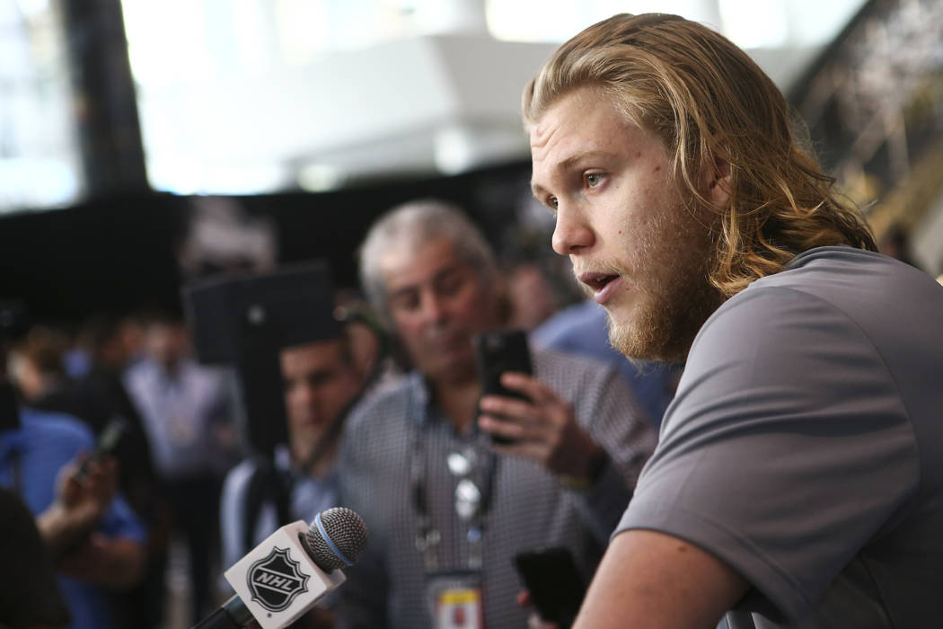 Golden Knights center William Karlsson speaks during NHL hockey media day for the Stanley Cup Final at the T-Mobile Arena in Las Vegas on Sunday, May 27, 2018. Chase Stevens Las Vegas Review-Journ ...