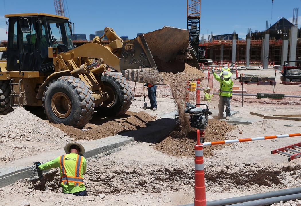 The construction site for the future Raiders stadium in Las Vegas, Thursday, June 28, 2018. Erik Verduzco Las Vegas Review-Journal @Erik_Verduzco