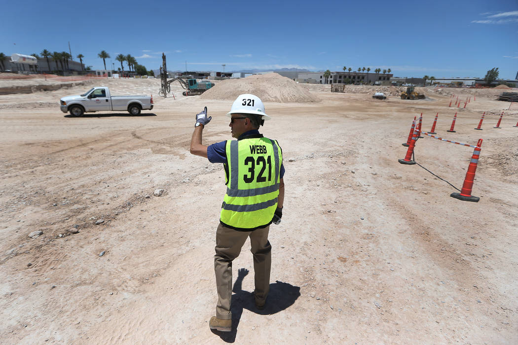 Don Webb, chief operating officer of the LV Stadium Co., gives a tour of the construction site for the future Raiders stadium in Las Vegas, Thursday, June 28, 2018. Erik Verduzco Las Vegas Review- ...
